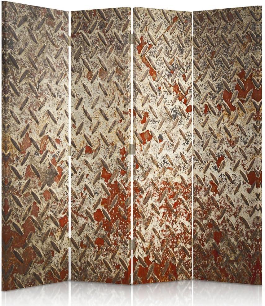 Feeby Frames Biombo Impreso sobre Lona, tabique Decorativo para Habitaciones, a Doble Cara, de 4 Piezas (145x180 cm), Pared, Hierro, Rojo, MARRÓN