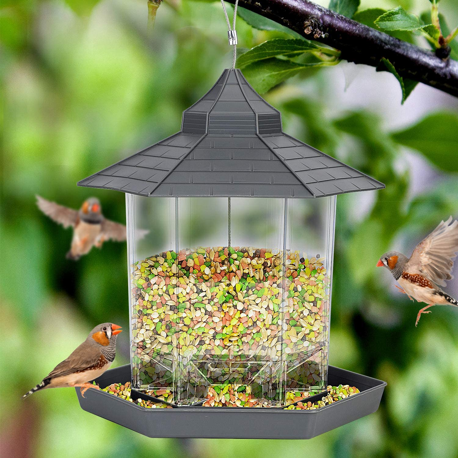 Wild Bird Feeders for Outside Hanging,Bird Seed for Outside Feeders for Garden Yard Outdoor Decoration (Grey)