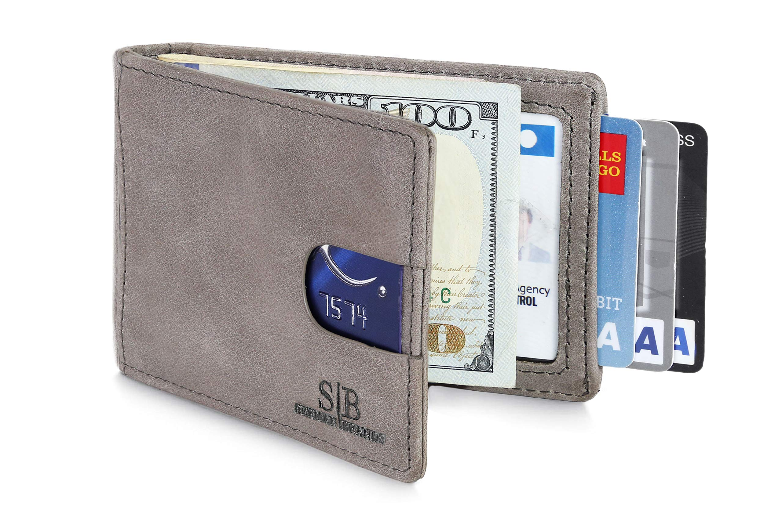 Travel Wallet RFID Blocking Bifold Slim Genuine Leather Thin Minimalist Front Pocket Wallets for Men Money Clip - Made From Full Grain Leather (Slate Gray 1.0)