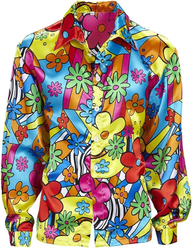Amakando Camiseta Flores Hombre Camisa Hippie de Colores S 48 Disfraz Hombre Hippie Ropa años 60 71 Parte de Arriba Flower Power Outfit a la Moda