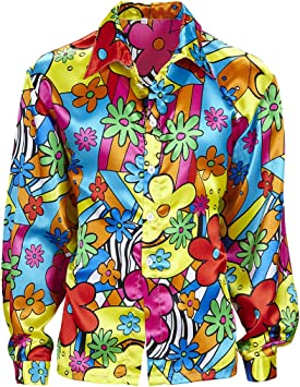 Amakando Camiseta Flores Hombre Camisa Hippie de Colores S 48 Disfraz Hombre Hippie Ropa años 60 71 Parte de Arriba Flower Power Outfit a la Moda: Amazon.es: Juguetes y juegos