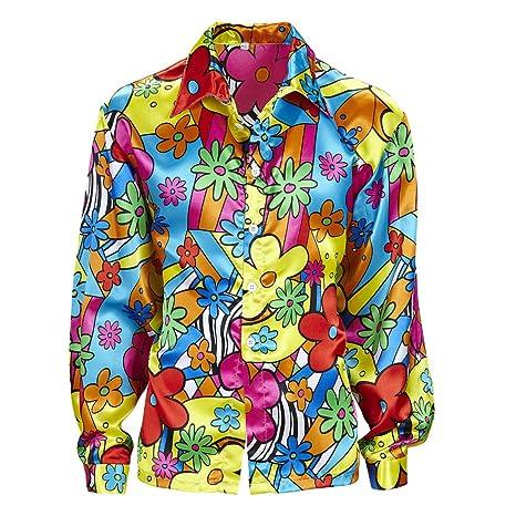 Amakando Camiseta Flores Hombre Camisa Hippie de Colores M 50 Disfraz Hombre Hippie Ropa años 60