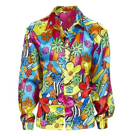 Amakando Blumenhemd Herren Buntes Hippiehemd M 50 Hippie Kostum