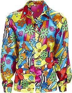 Amakando Camiseta Flores Hombre Camisa Hippie de Colores XXL 56 Disfraz Hombre Hippie Ropa años 60 75 Parte de Arriba Flower Power Outfit a la Moda