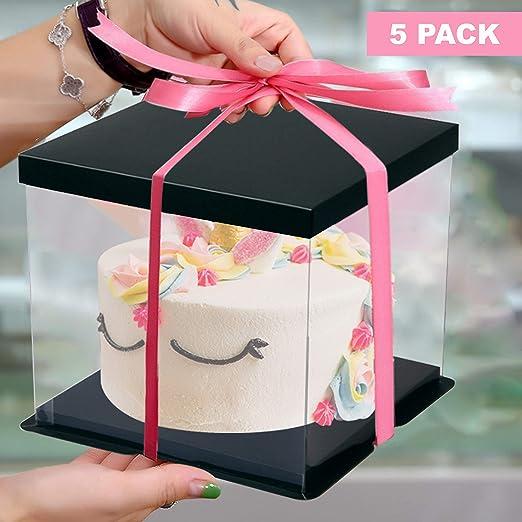 Caja de pastel (paquete de 5) - 24,5 x 18 cm Cubierta para pastel de con tapa de cartón negra - Recipiente de plástico para presentación y regalo - Soportes transparentes para