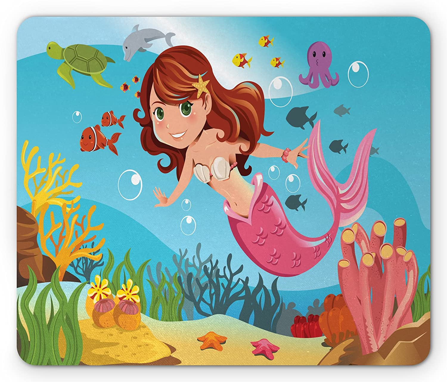 Pad Mermaid Sisters Best Friends Themed 5mm Thick Rectangle Mouse Mat