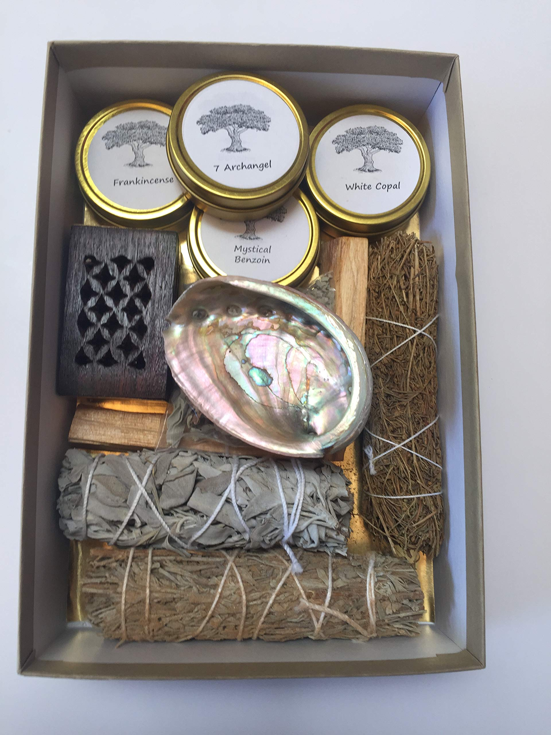Resin Incense and Sage Smudges Variety Gift Kit includes, Amber Resin, Rose Resin, White Copal, Mystical Benzoin, Frankincense, White Sage Smudge, Desert Sage, Palo Santo Sticks and Abalone Shell by Sacred Scents For You (Image #8)