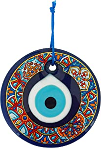 Erbulus Glass Blue Evil Eye Wall Hanging Colorful Floral Design Ornament – Turkish Nazar Bead - Home Protection Charm - Wall Art Amulet in a Box (Design 2)