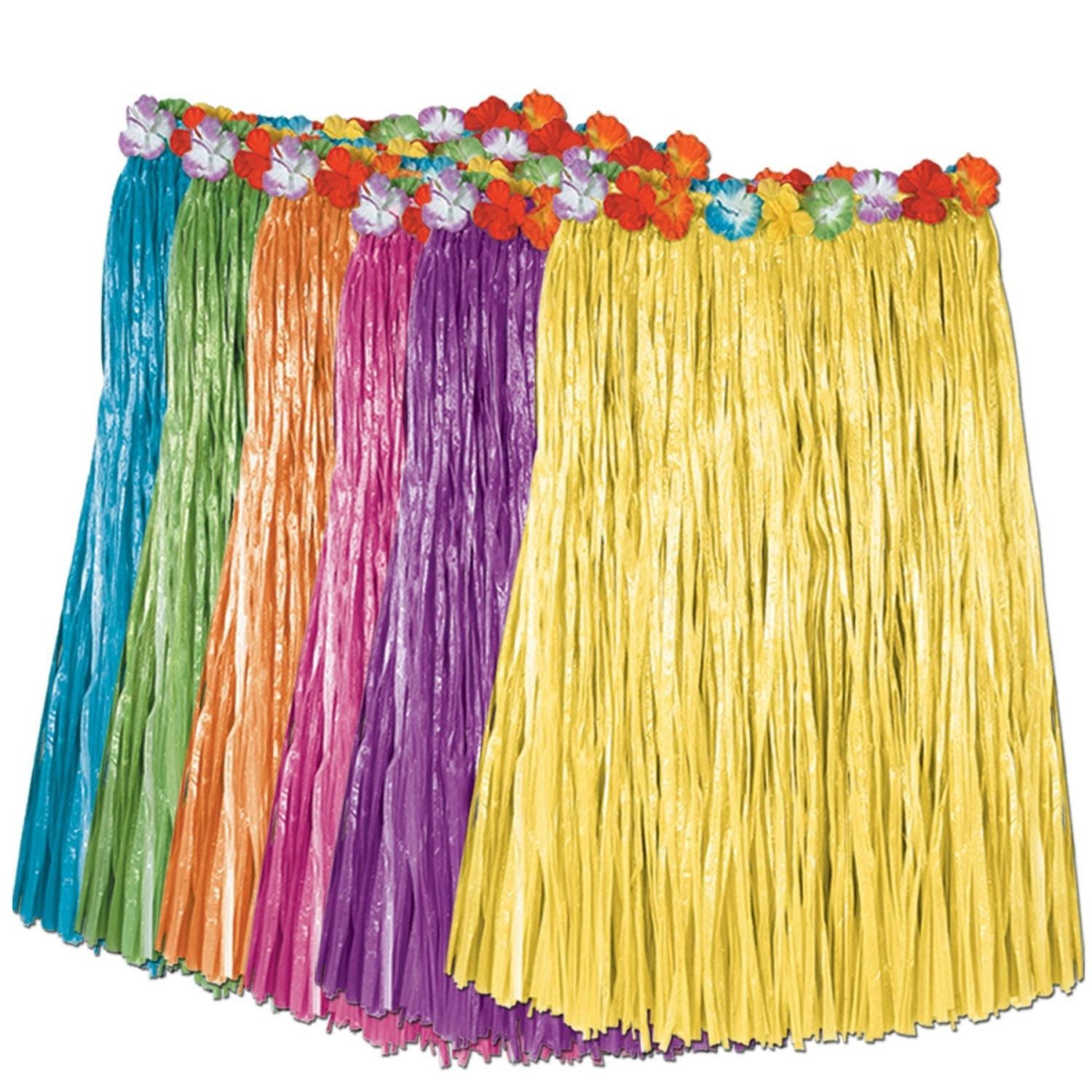 Club Pack of 12 Tropical Multi-Colored Adult Sized Artificial Grass Hula Skirts 36'' by Party Central