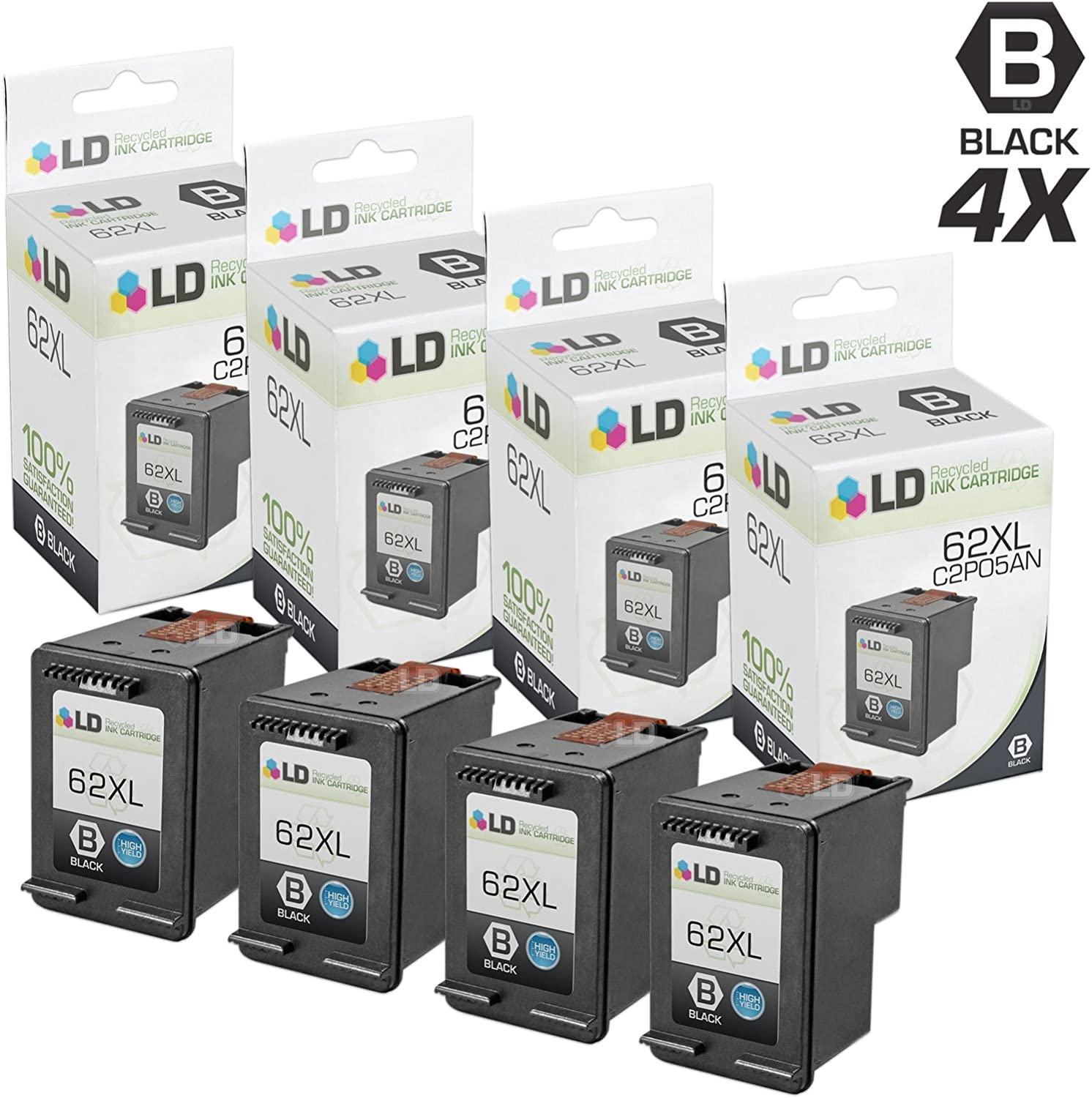 LD Remanufactured Ink Cartridge Replacement for HP 62XL C2P05AN High Yield (Black, 4-Pack)
