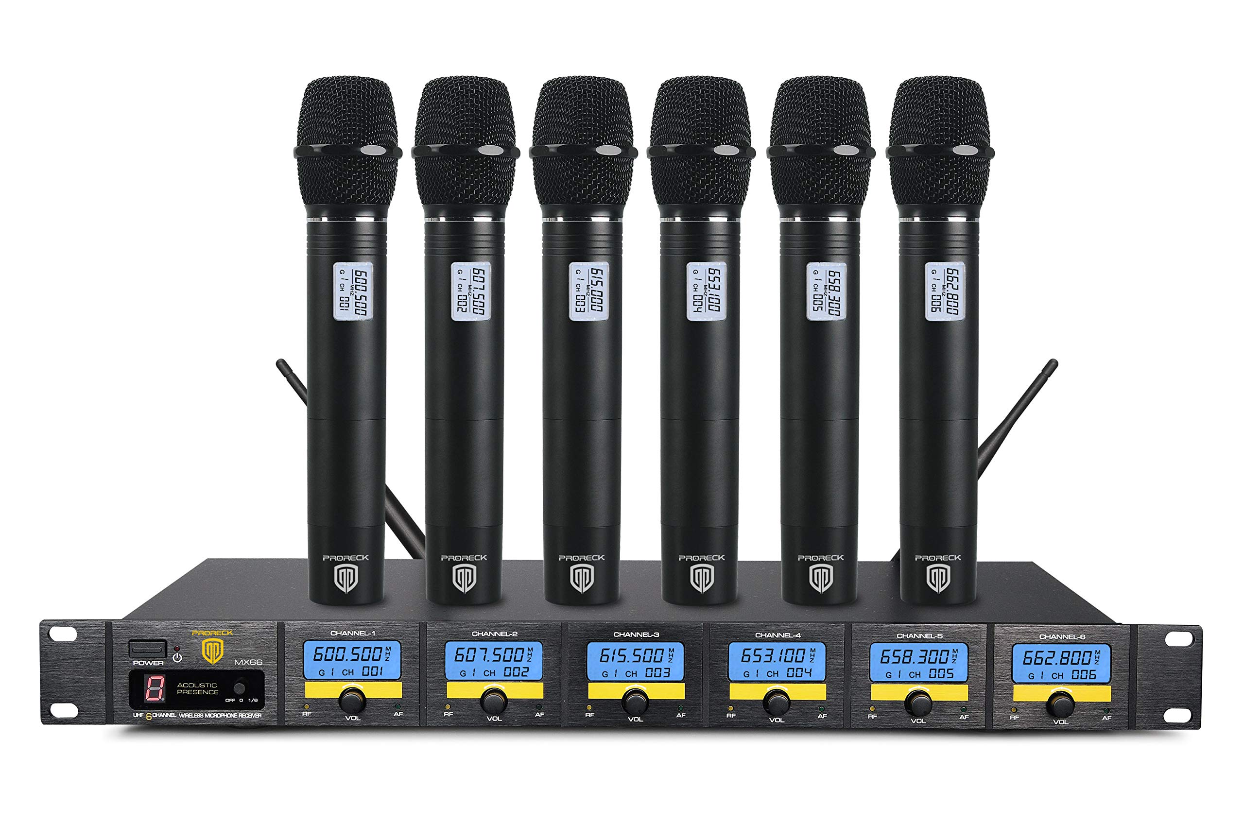 PRORECK MX66 6-Channel UHF Wireless Microphone System with 6 Hand-held Microphones Karaoke Machine for Party/Wedding/Church/Conference/Speech (New frequency) by PRORECK (Image #1)