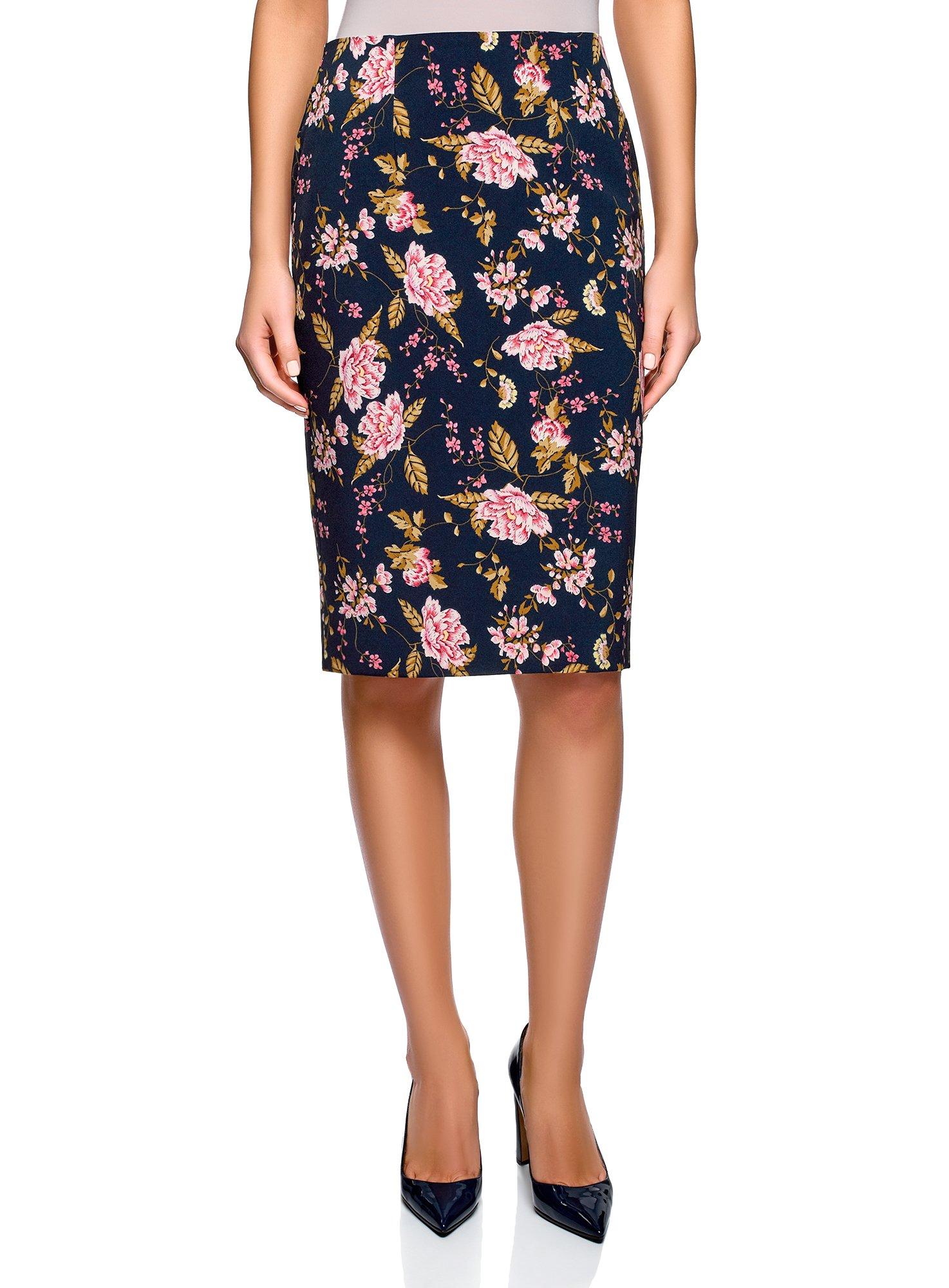 oodji Collection Women's Basic Pencil Skirt, Blue, 4