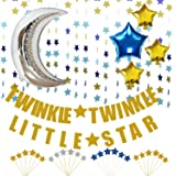 KUNGYO Twinkle Twinkle Little Star Decorations Kit-Glittery Gold Banner-Blue Star Garland -Cupcake Toppers-Moon&Star Mylar Foil Balloons -Perfect Boy Baby Shower Birthday Party Decor Supplies