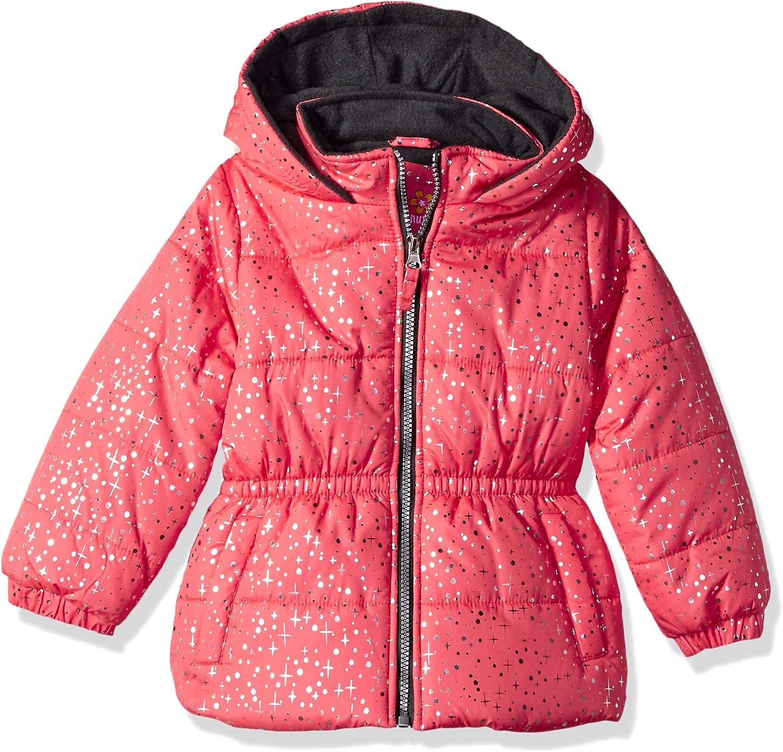 Pink Platinum Girls Printed Foil Star Puffer Jacket