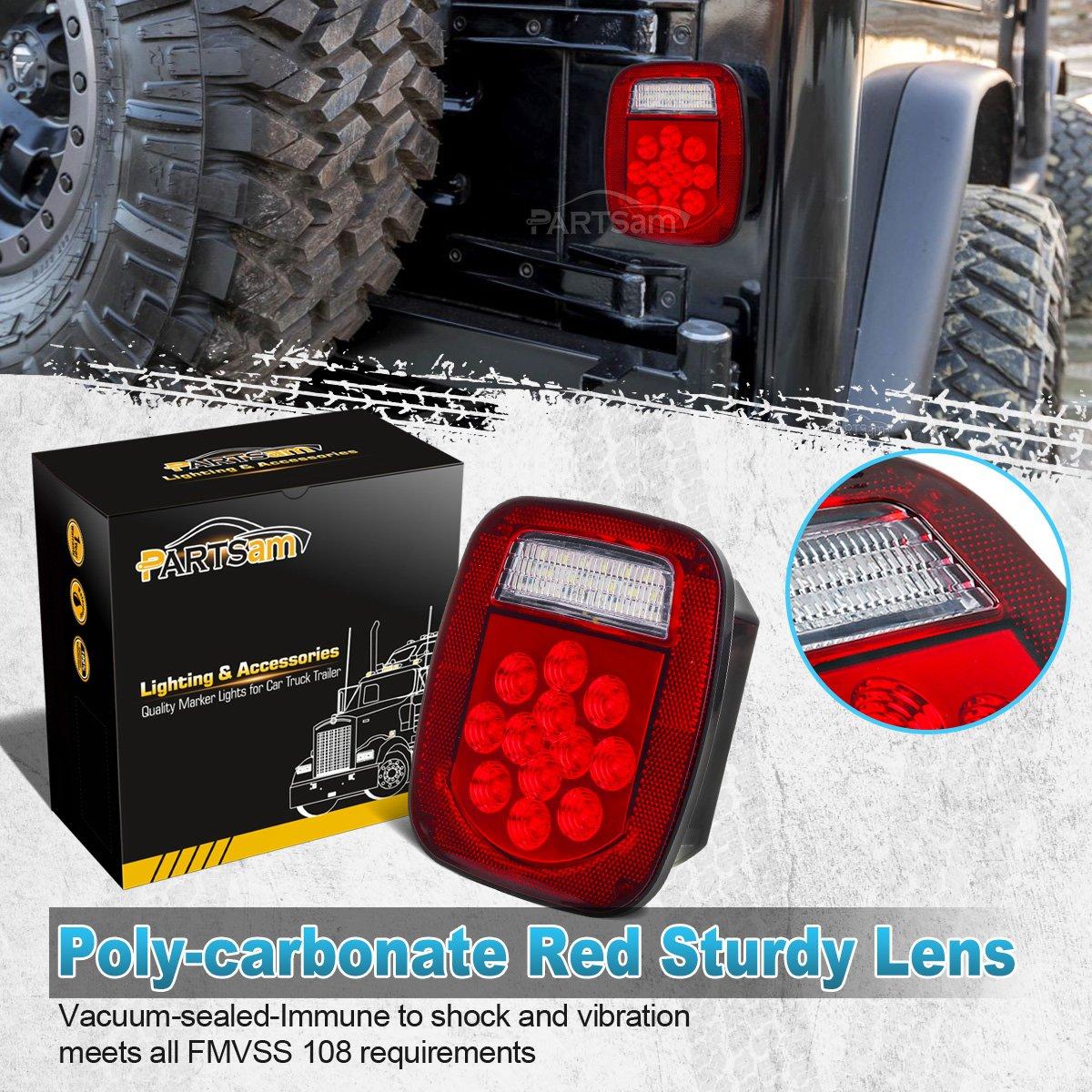 Amazoncom Partsam 2x RedWhite 39 LED Stop Turn Tail Stud Lights
