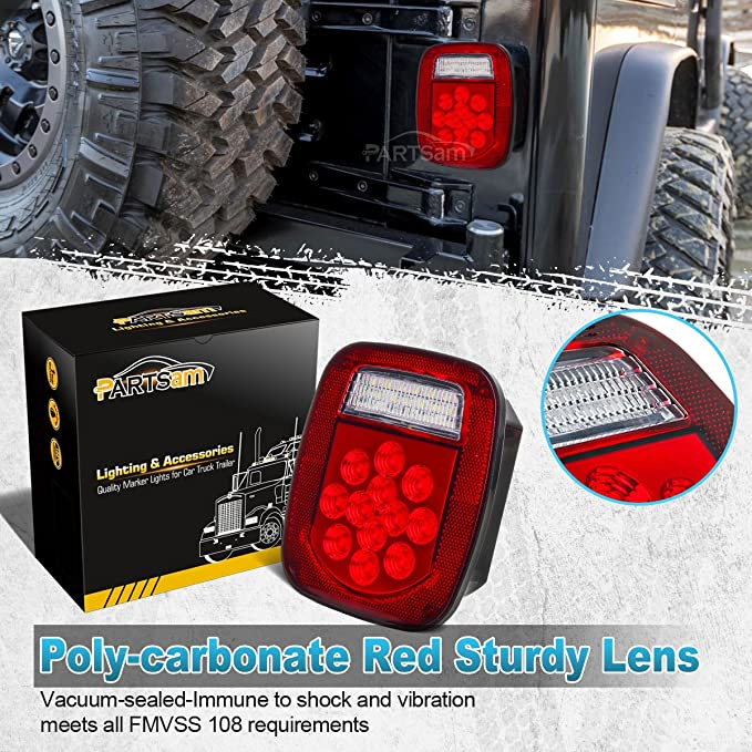 amazon com: partsam 2x red/white 39 led stop turn tail stud lights  replacement for jeep cj yj jk truck trailer boat rv, hardwired: automotive