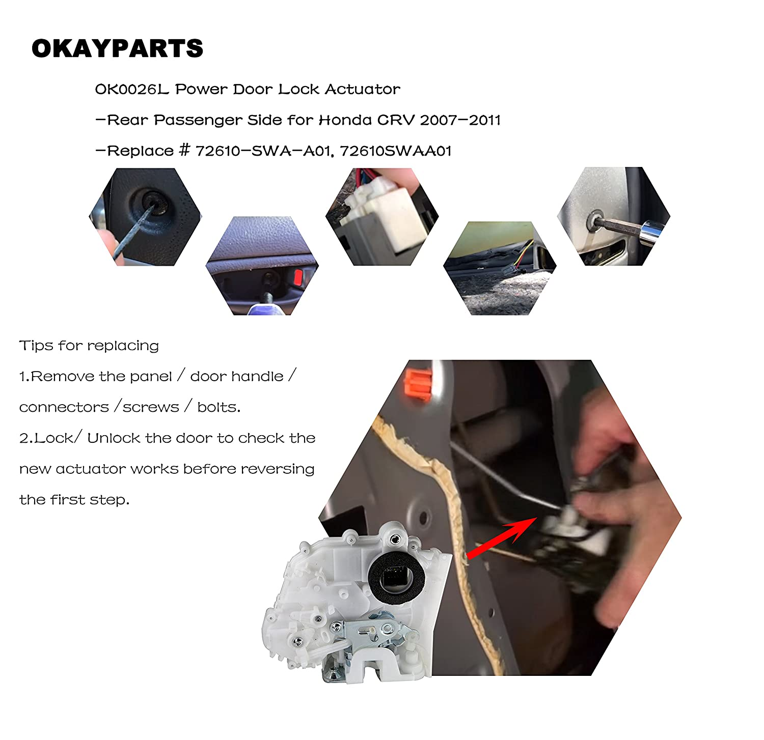 Door Latch Lock Actuator Assembly Rear Passenger Open Fuse Box Honda Crv 2007 Side For 2011 Replaces 72610 Swa A01 72610swaa01 Automotive
