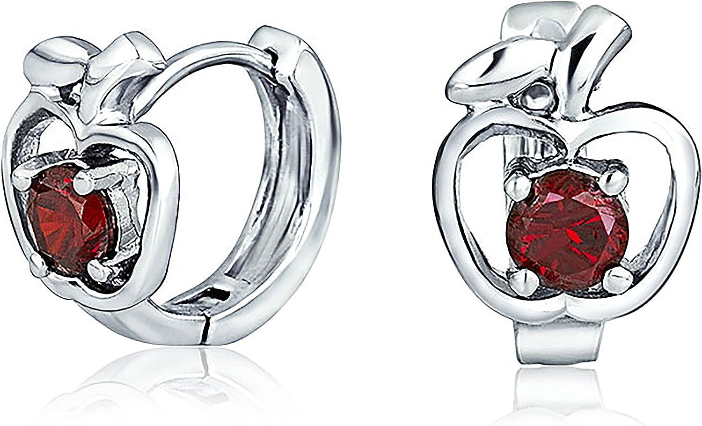 Red CZ Apple Of My Eye Kpop Huggie Hoop Earrings For Women Cubic Zirconia 925 Sterling Silver