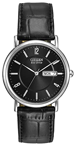 0dc4254fe78 Citizen Men s Eco-Drive Watch with Black Dail Analogue Display and Black  Leather Strap BM8240