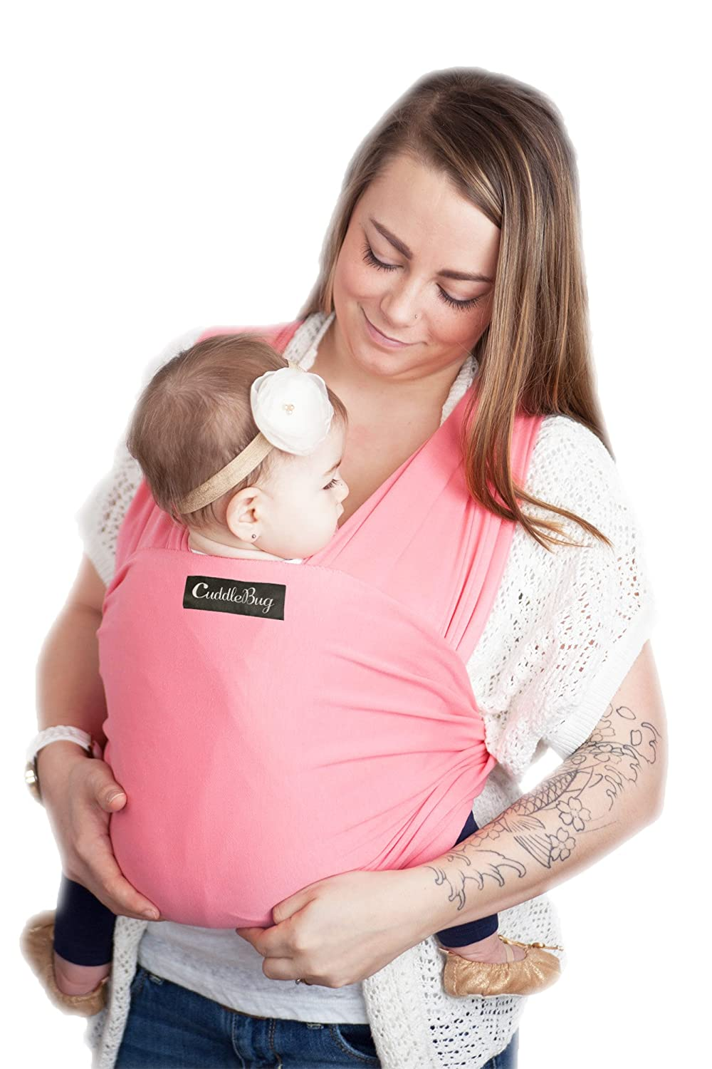 Baby Wrap Ergo Carrier Sling - by CuddleBug - Available in 8 Colors - Baby Sling, Baby Wrap Carrier, Nursing Cover - Specialized Baby Slings and Wraps for Infants and Newborn (Grey) GreyWrap1
