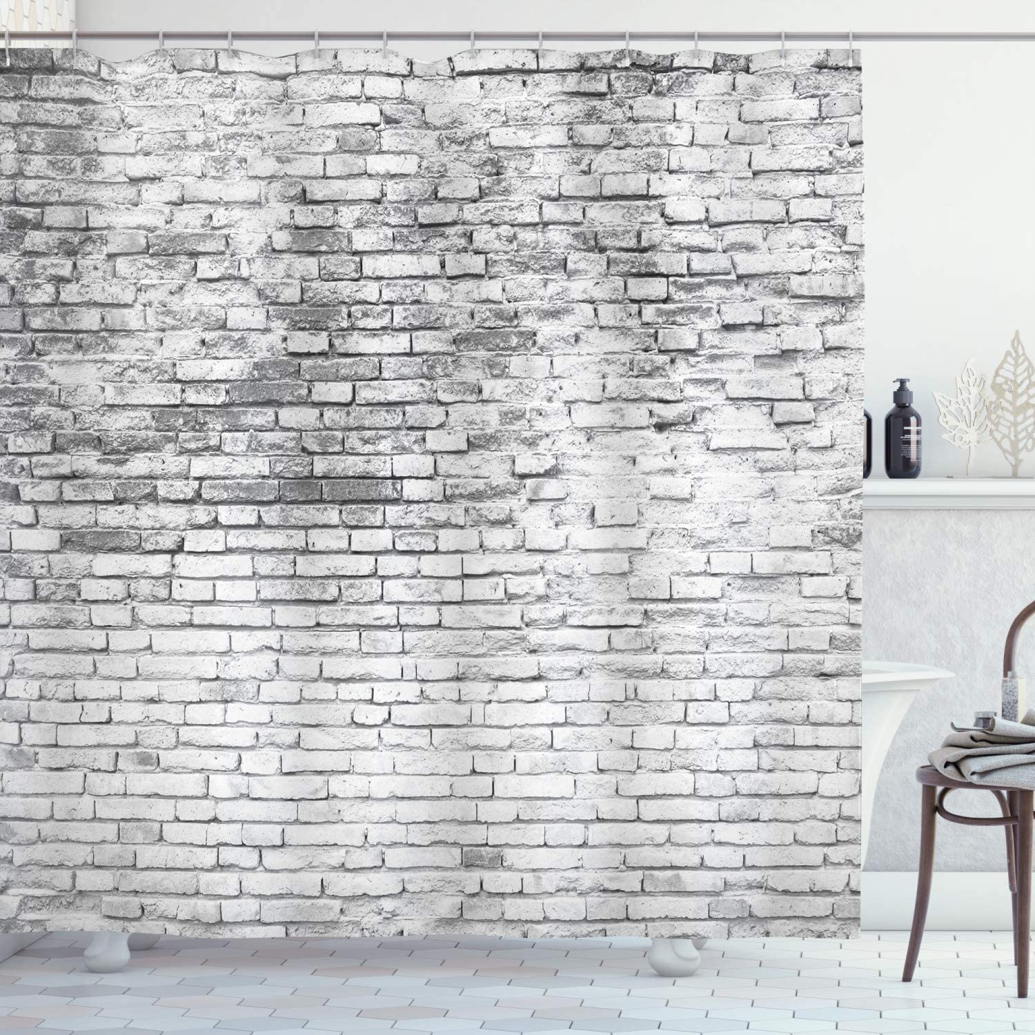 "Ambesonne Brick Wall Shower Curtain, Worn and Cracked Grunge Stained Brick Wall Masonry Architecture Image Print, Cloth Fabric Bathroom Decor Set with Hooks, 70"" Long, White Grey"