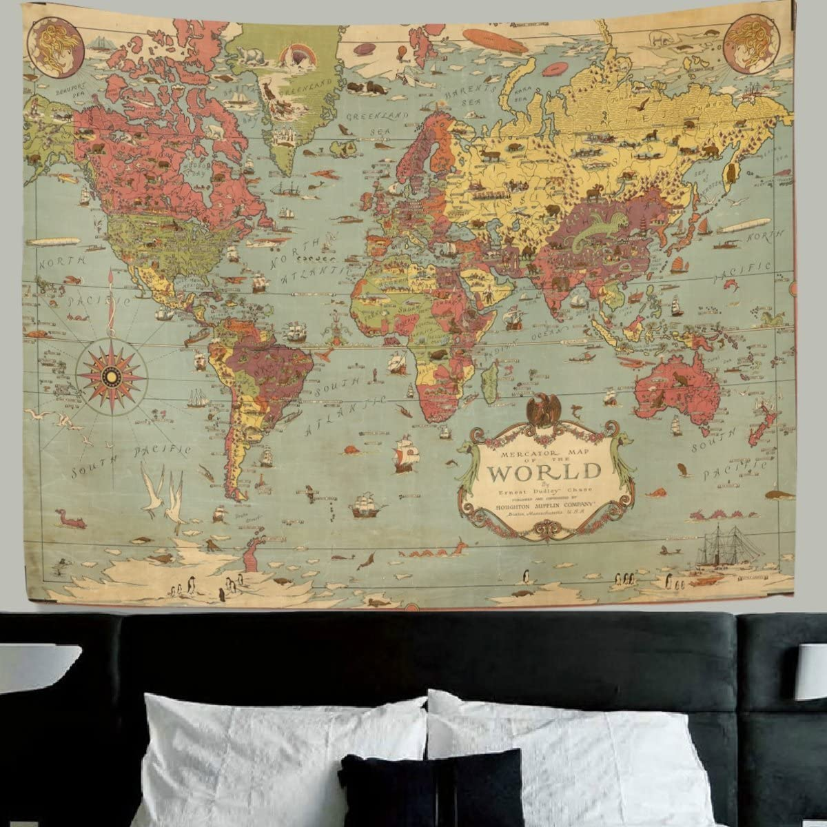 HMWR World Map Tapestry Wall Hanging Vintage Ancient Shabby Chic World Map Compass Wall Fabric Tapestry Throw Artwork Home Decoration for Living Room Bedroom Dorm