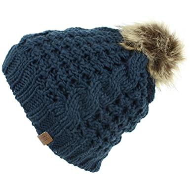 8fdb2f58e5e Hawkins Children s Cable Knit Beanie Hat with Fleece Lining and Faux Fur  Bobble - Navy