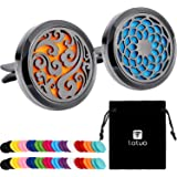 Tatuo 2 Pieces 316L Stainless Steel Car Aromatherapy Essential Oil Diffuser Air Freshener Vent Clip Locket with 48 Pieces Replacement Felt Pad (Cloud, Sunflower Patterns)