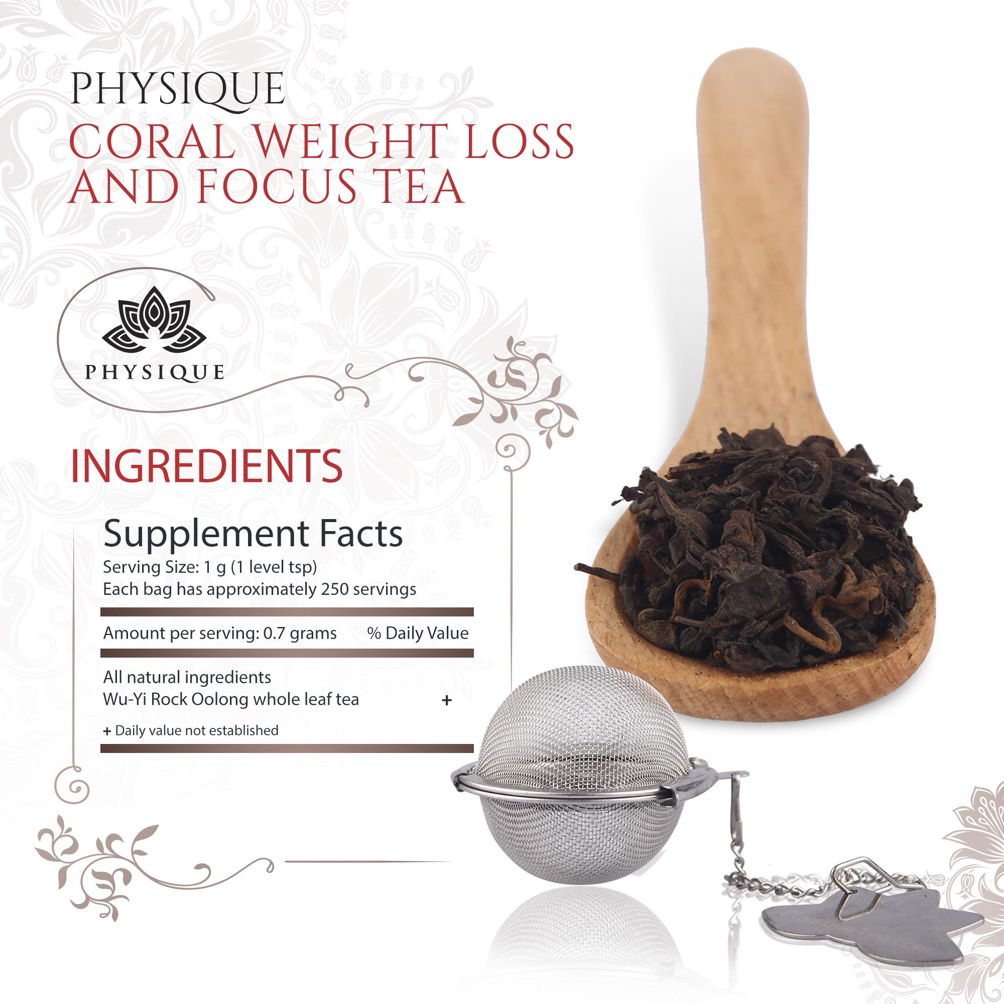 Wu-Yi Rock Oolong Tea 8oz (300 servings) - For Weight Loss and Focus - Reduce Brain Fog and Manage Weight - Coral by Physique Tea by Physique Tea (Image #7)