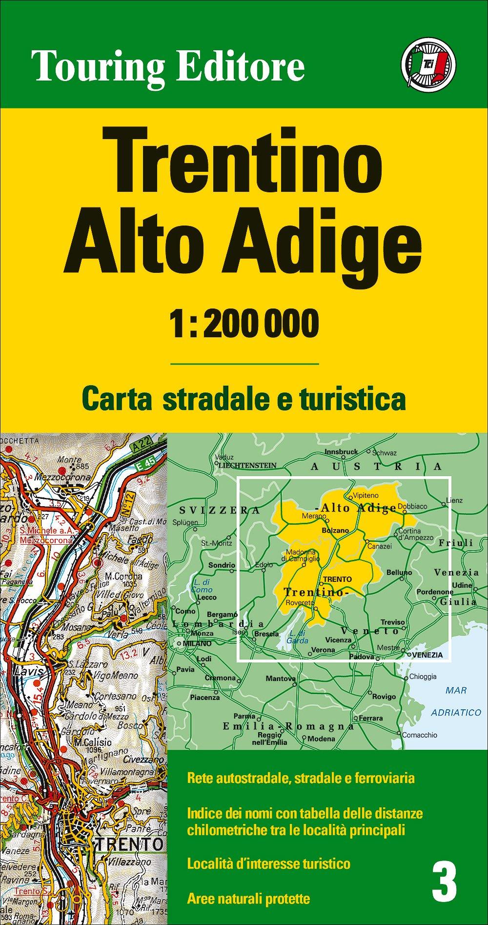 Cartina Stradale Veneto Trentino.Amazon It Trentino Alto Adige 1 200 000 Lingua Inglese Aa Vv Libri In Altre Lingue