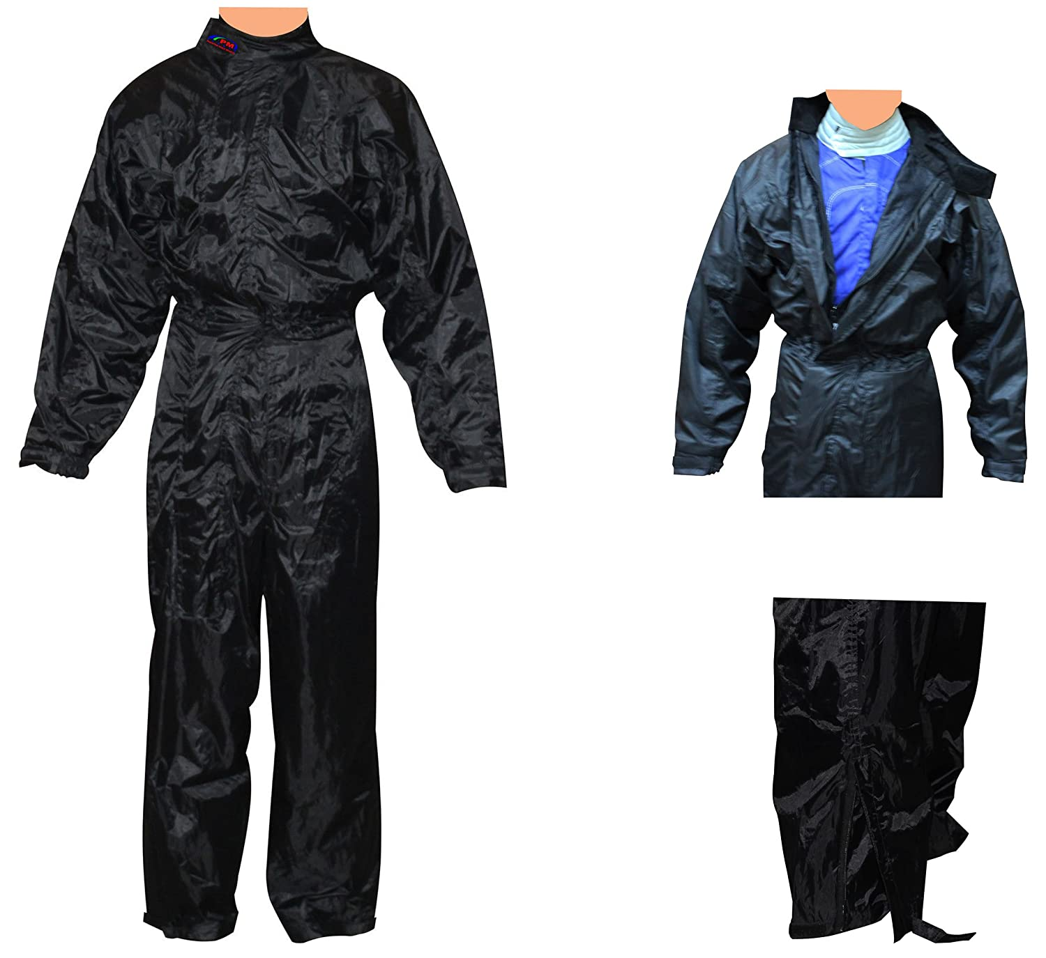 Rain Suit, Wet weather One Piece Suit Overall For Karting, Race, Rally, Autograss in BLACK (L) PM Sports