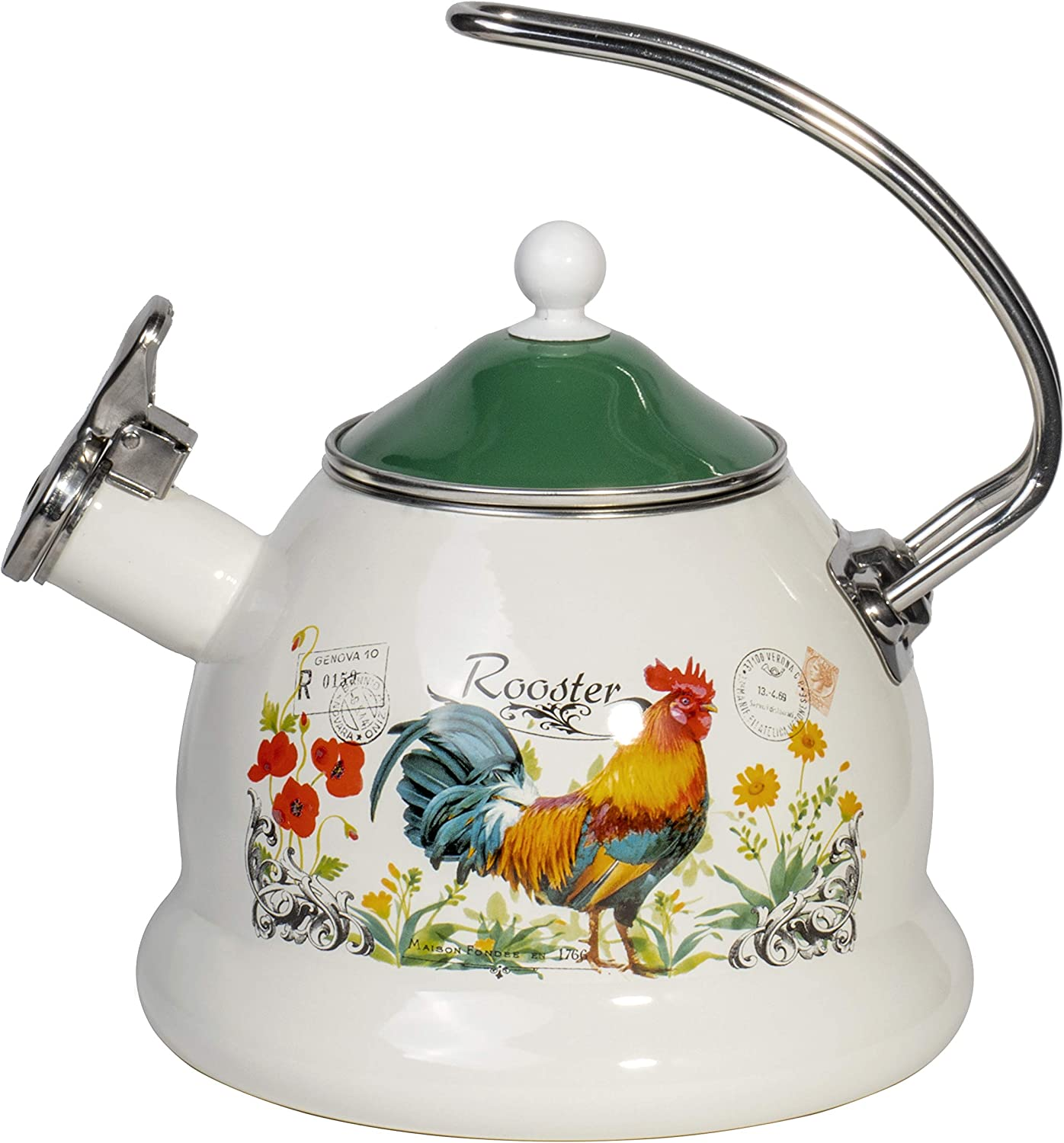 Enamel on Steel Stove Top Whistling Teapot Kettle - Retro Classic Design - 2.3 Quarts