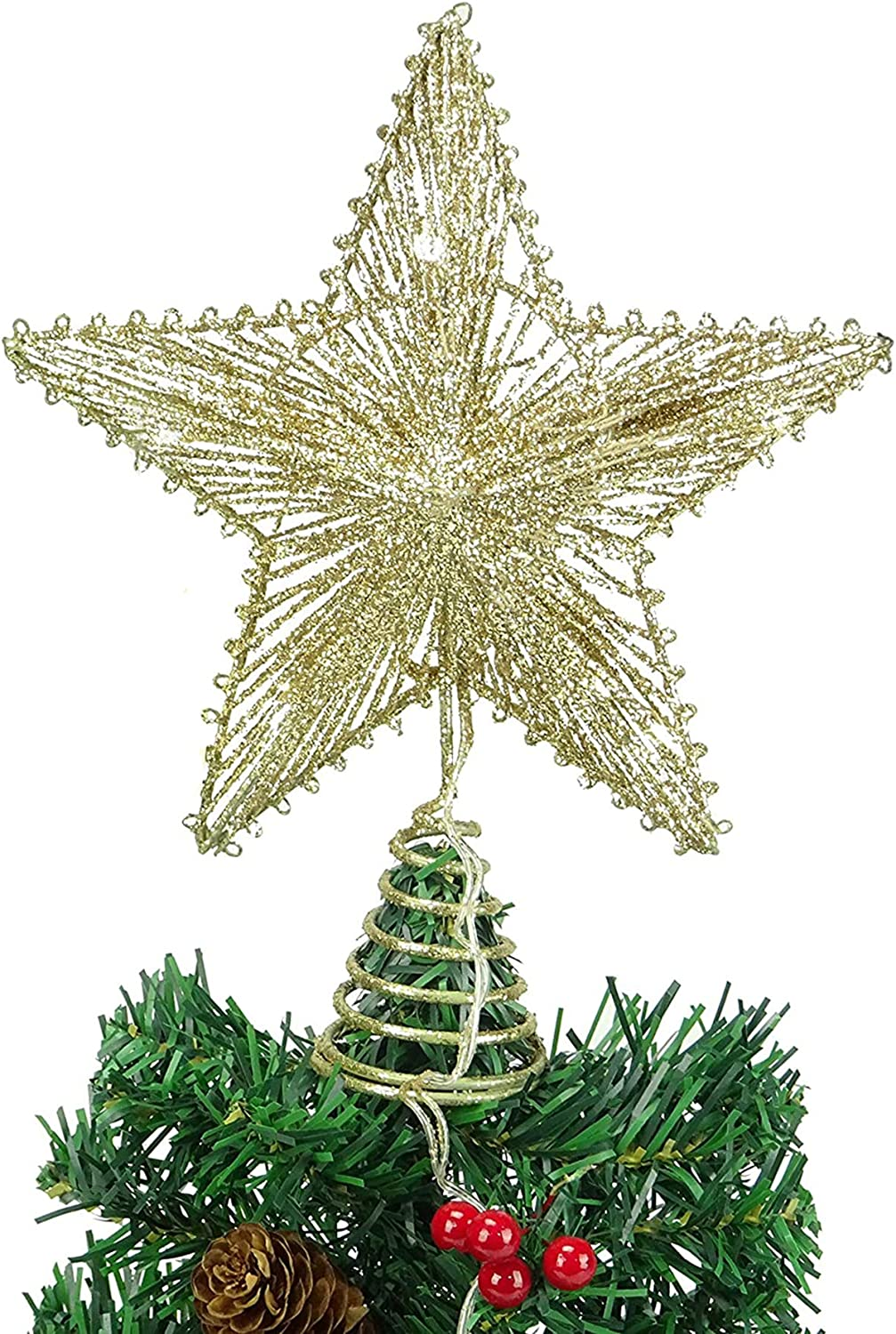 Christmas Tree Topper Star Gold Glittering Hollow Wire Star Topper 10 inch Fit for General Size Christmas Tree