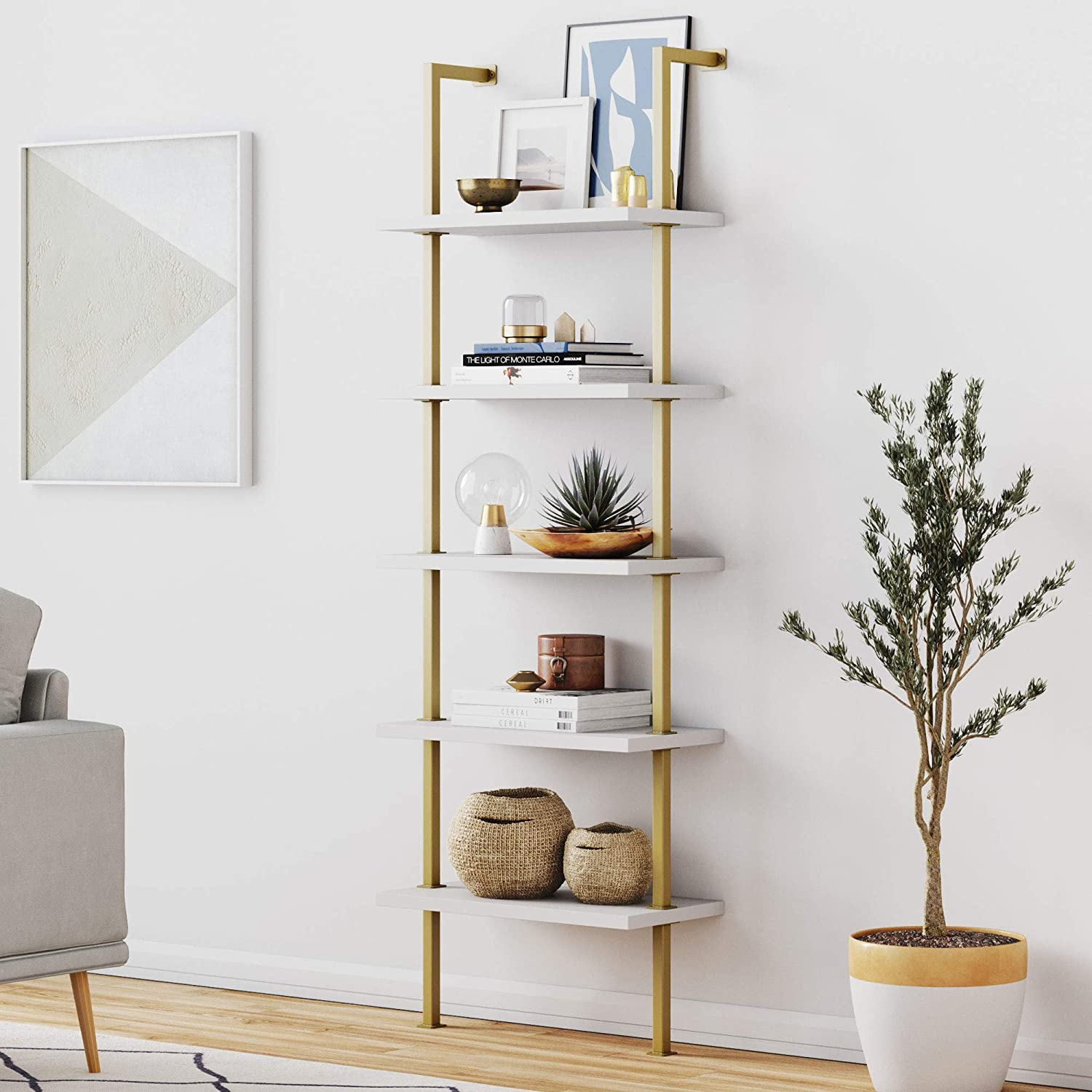 Nathan James 66001 Theo 5-Shelf Ladder Bookcase with Brass Metal Frame, White/Gold