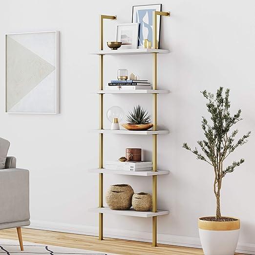 white bookshelf open back