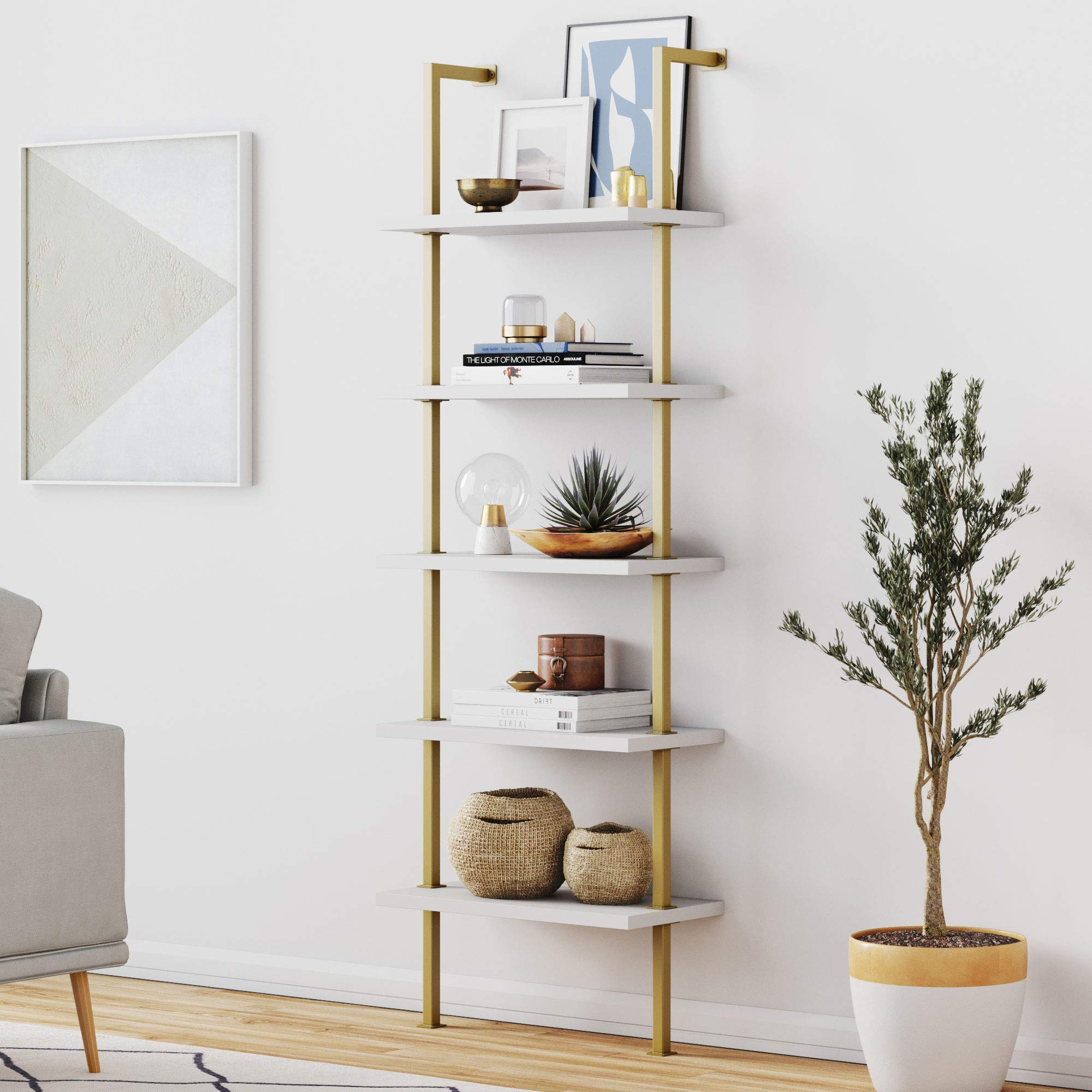 Nathan James 66001 Theo 5-Shelf Ladder Bookcase with Brass Metal Frame, White/Gold by Nathan James