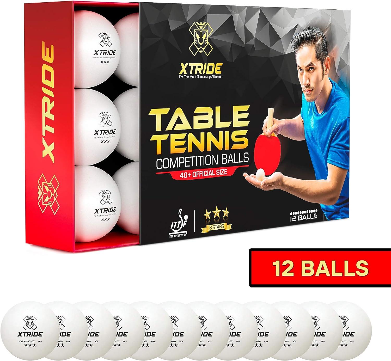 Xtride Pelotas de Ping Pong Tenis de Mesa Profesionales [Aprobadas por ITTF] (Pack 12 Pelotas) 3 Estrellas 40+: Amazon.es: Deportes y aire libre