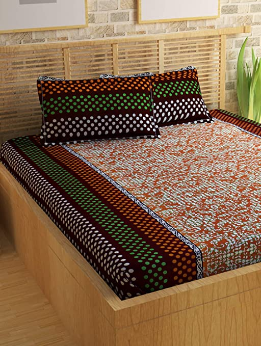 Story@Home Candy 120 TC Cotton Bed Sheet for Double Bed with 2 Pillow Cover Set - Paisley, Queen Size, Brown and Orange Flat Bed Sheets at amazon