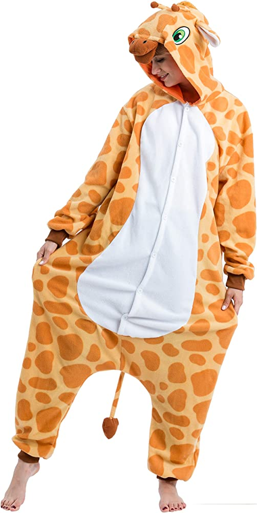 Unisex Adult Pajamas Kigurumi Cosplay Costume Animal Sleepwear Giraffe