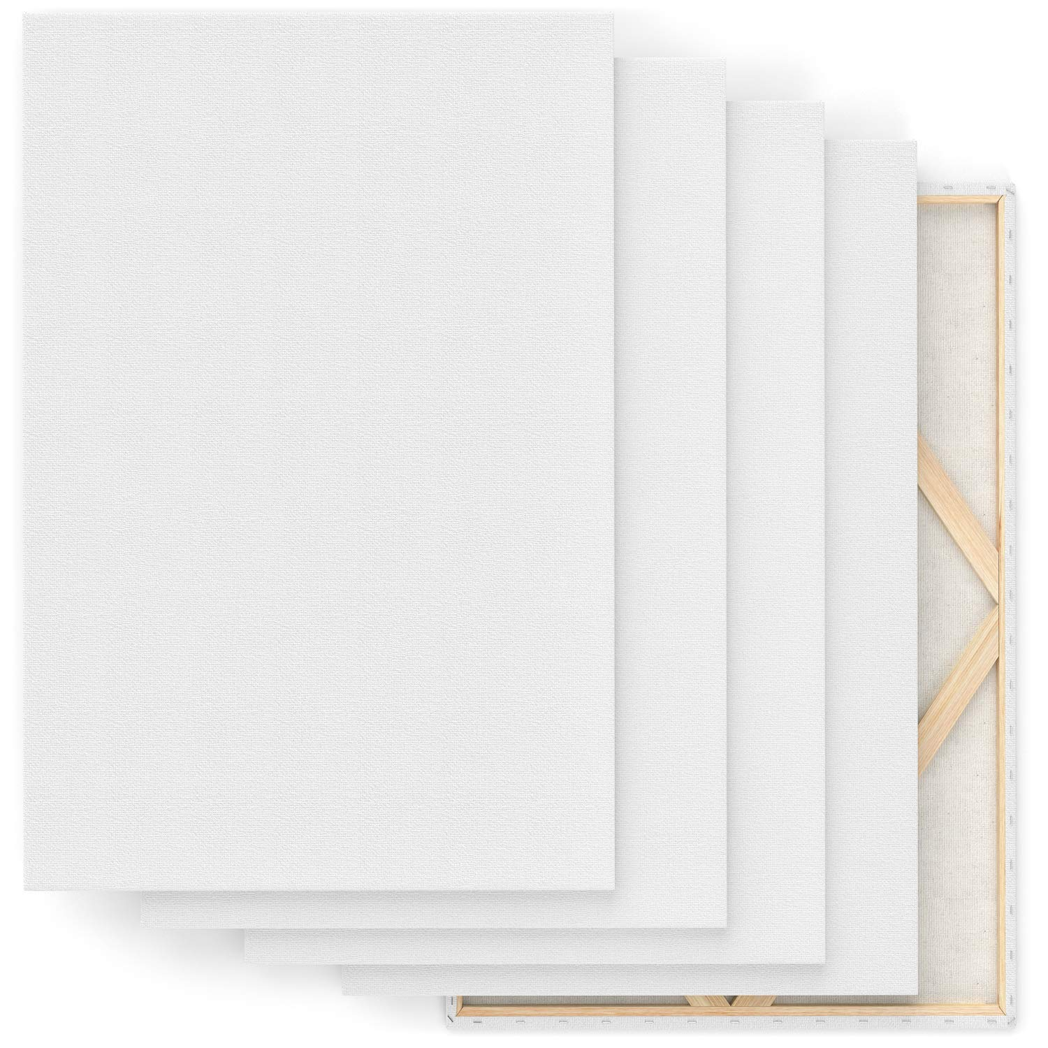 """Arteza 24x36"""" Stretched White Blank Canvas, Bulk Pack of 5, Primed, 100% Cotton for Painting, Acrylic Pouring, Oil Paint & Wet Art Media, Canvases for Professional Artist, Hobby Painters & Beginner by ARTEZA (Image #5)"""