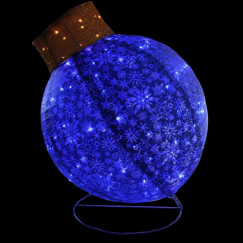 Northlight Pre-Lit Twinkling LED Blue Glitter Christmas Yard Art Decoration Ball Ornament, 36''