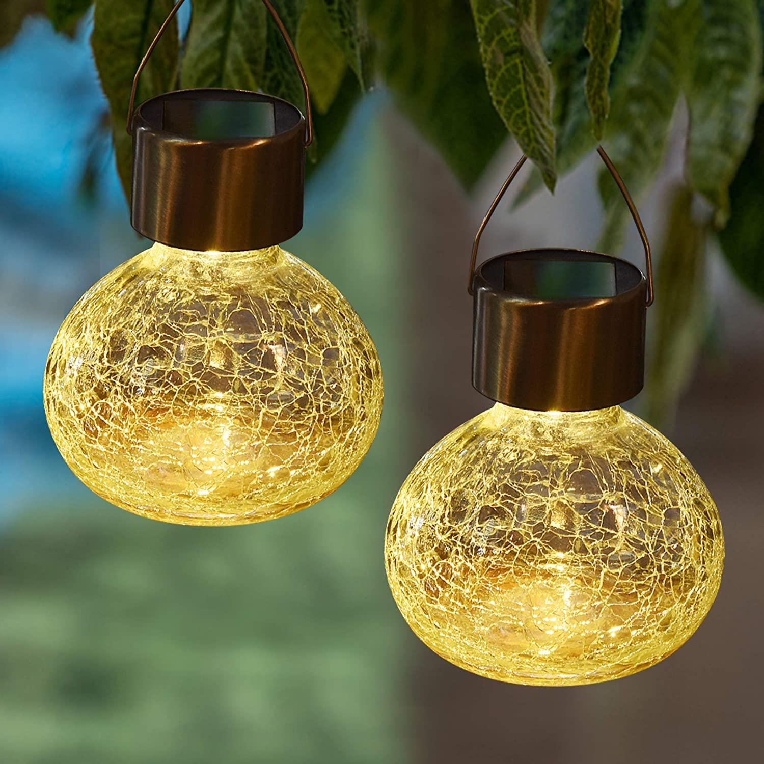 MAGGIFT 6 Pack Solar Hanging Jar Lights Outdoor Solar Christmas Lantern Cracked Glass Decorative Garden Tree Lights for Yard, Garden, Patio, Holiday Party Decorations, Warm White