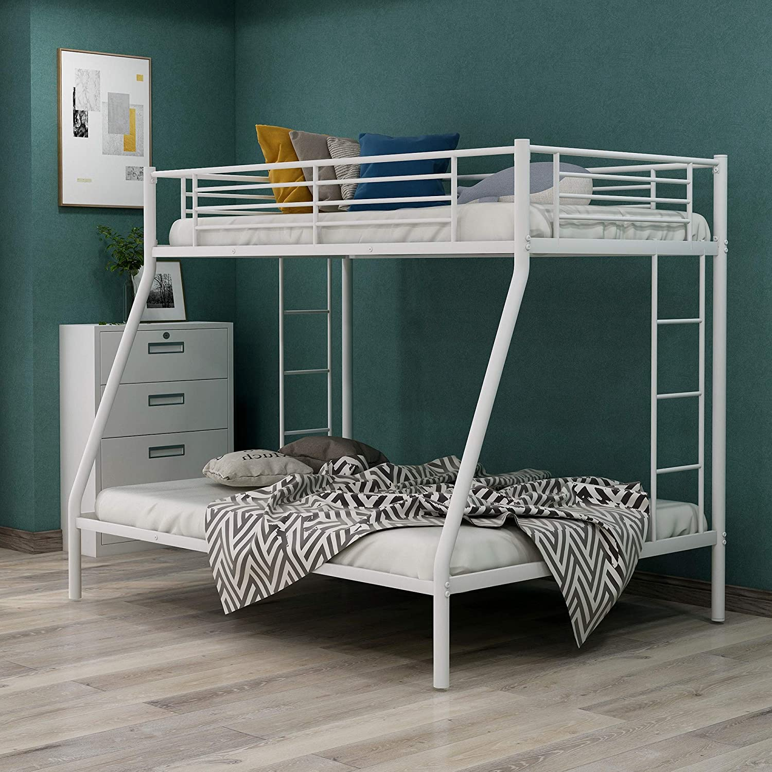 Twin-Over-Full Bunk Bed Sturdy Metal Frame and Ladder, Space Saving Design, White