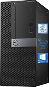 Dell Optiplex 7040 Mini-Tower Desktop PC, Intel Quad-Core i7-6700 4.0 GHz, 8GB RAM, 256GB NVMe SSD, HD Graphics 530 4K, DisplayPort, HDMI, AC Wi-Fi, Bluetooth - Windows 10 Pro (Renewed)