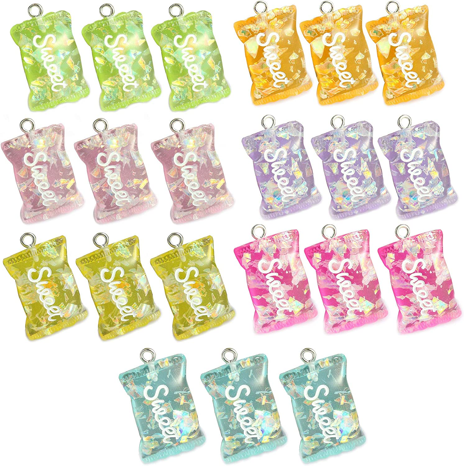 21 Pcs Colorful Sweet Candy Pendant Charms Erring Bracelet DIY Jewelry Making Pendants for Chirld Girl