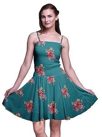 Bimba Floral Las Damas Smocked Cintura Vestido De Sol Mini