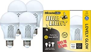 MiracleLED 604930 Miracle LED Lovely Glow Bug Light Bulb for Porch/Patio/Entry Way Outdoor and Save 4-Pack, 4 Piece