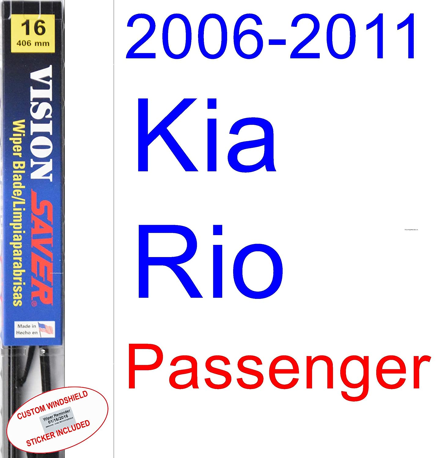 Amazon.com: 2006-2011 Kia Rio Wiper Blade (Driver) (Saver Automotive Products-Vision Saver) (2007,2008,2009,2010): Automotive