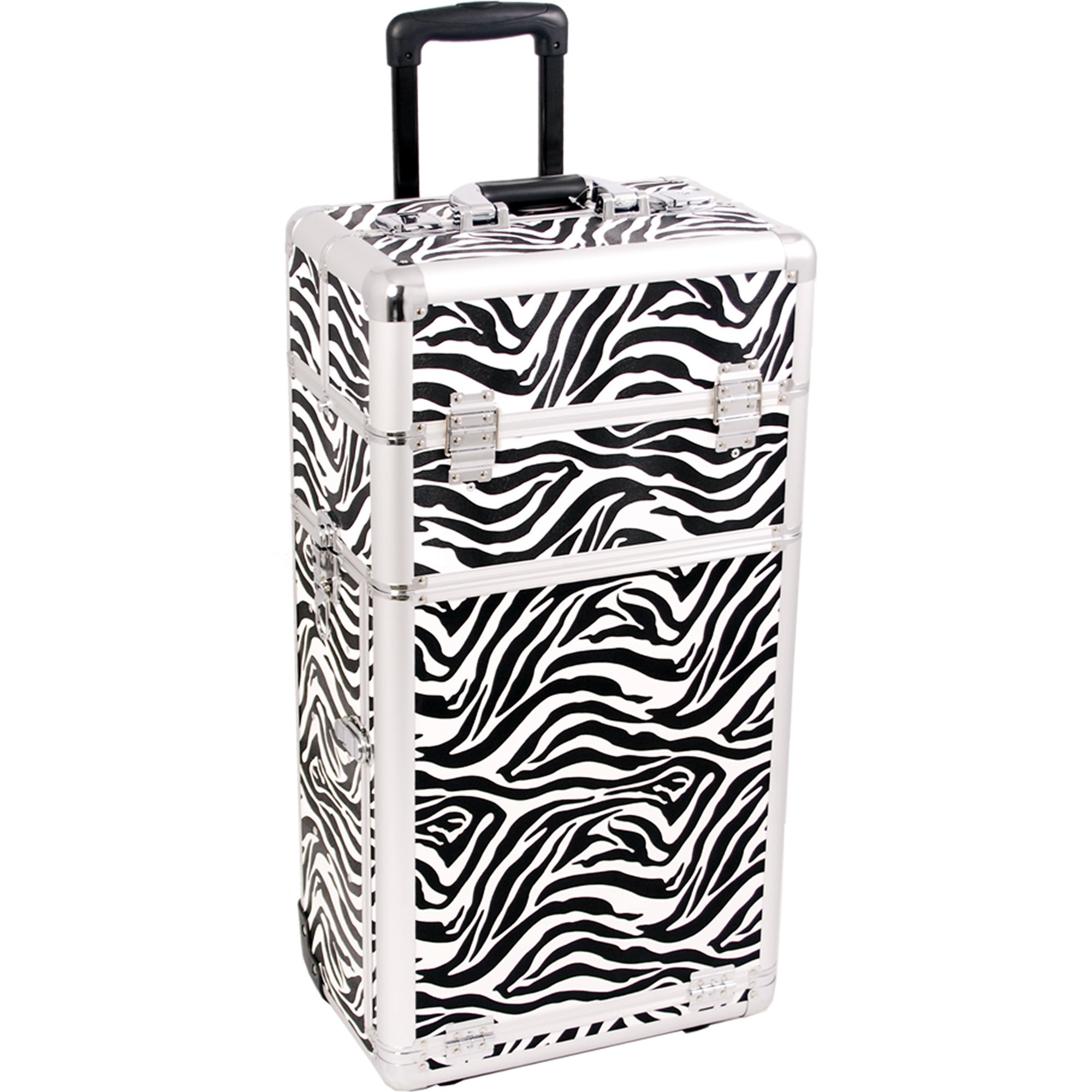 SUNRISE Rolling Cosmetic Case 2 in 1 Pro Artist I3162 Aluminum, 4 Slide Trays and 4 Small Drawers with Shoulder Strap, White Zebra
