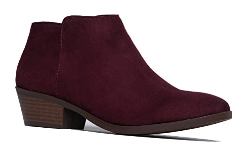 Western Ankle Boot Cowgirl Low Heel Closed Toe Casual Bootie